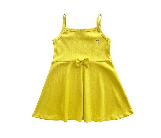 Vestido Evasê Infantil Malha Canelada amarelo