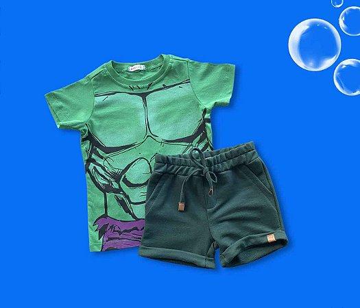 Combo Camisa Do Hulk + Short Moleton Verde