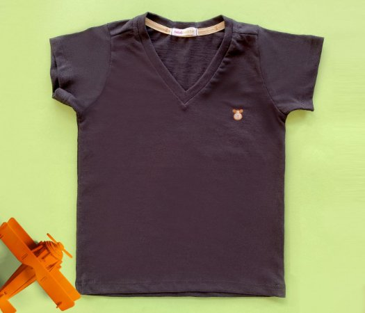 Camisa Infantil Gola V Malha Flamê Cor preta