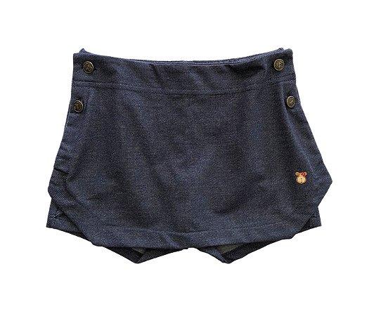 Short saia infantil denim azul, mais estilo e fofura para as pequenas.