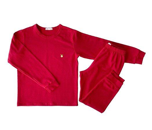 Pijama Infantil Manga longa e Calça Cotton Cor vermelho