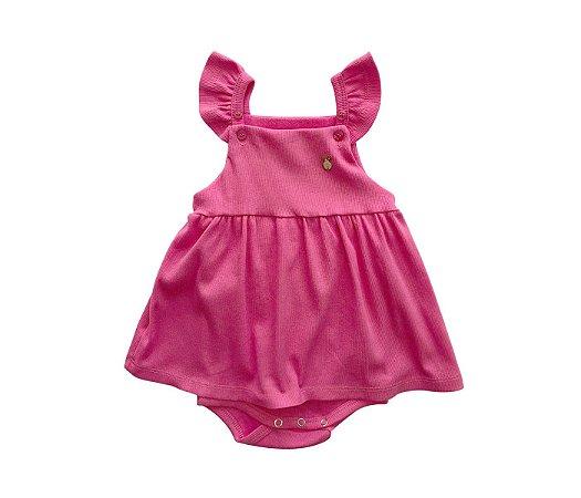 Francês Body Bebê Malha Canelada Cor rosa