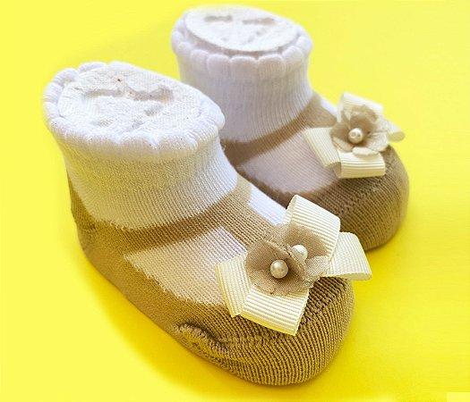 Meia sapatinho infantil básica bege