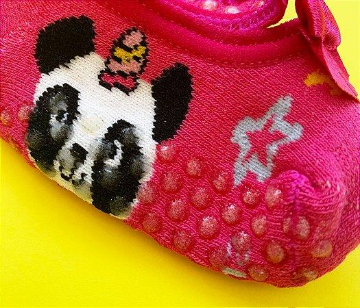 Sapatilha bebê antiderrapante básica pink panda