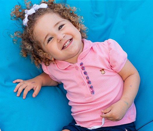 Blusa Polo Rosa infantil feminina, muito conforto e estilo