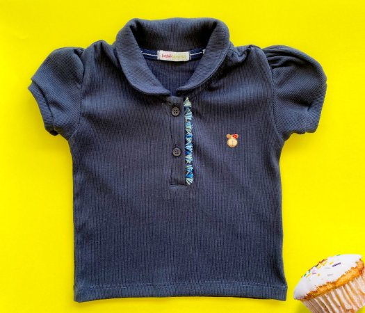 Blusa Polo Azul infantil feminina, muito conforto e estilo