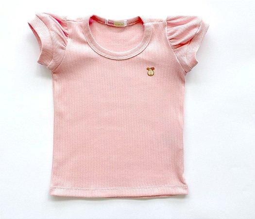 Blusa Infantil Baby Look Malha Canelada Cor rosa