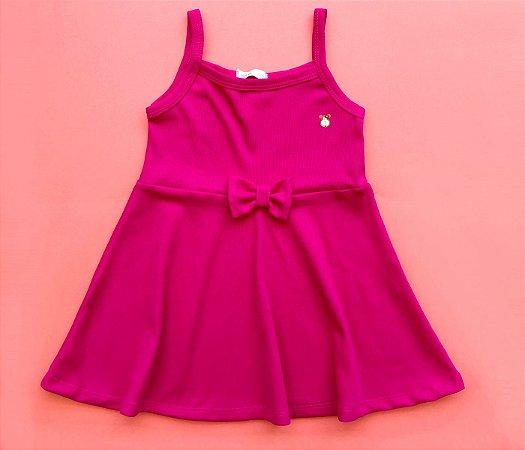 Vestido Evasê Infantil Malha Canelada rosa