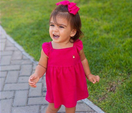 Francês Body Bebê Malha Canelada Cor Rosa Pink