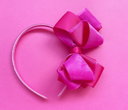 Arco infantil com laço duplo Rosa Pink