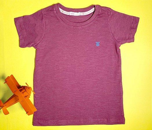 Camisa Infantil Gola Careca Malha Flamê Cor Bordo