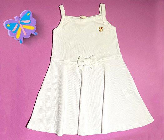 Vestido Evasê Infantil Malha Canelada Branco