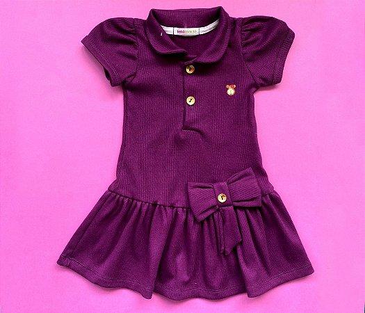 Vestido Polo Infantil Básico Roxo