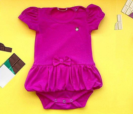 Body bebê Saia Balonê Cotton Cor Rosa Pink