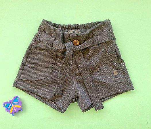 Short Infantil  com bolso e amarração cheio de estilo Marrom