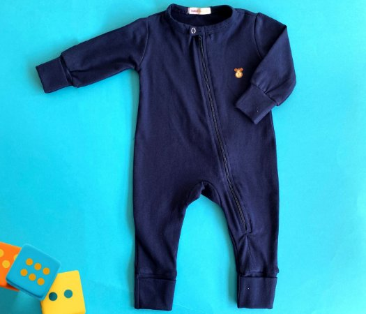 Macacão Bebê Básico Cor Azul Marinho