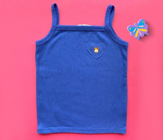 Blusa Regata Paula Coração Cor Azul