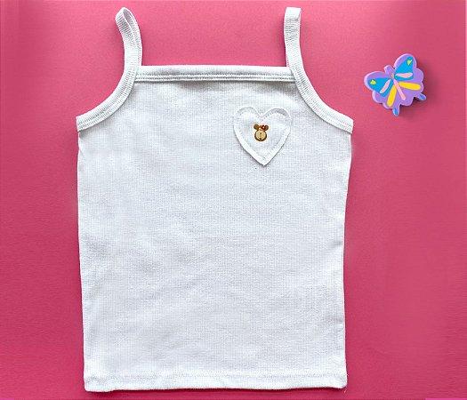 Blusa Regata Coração Cor Branco