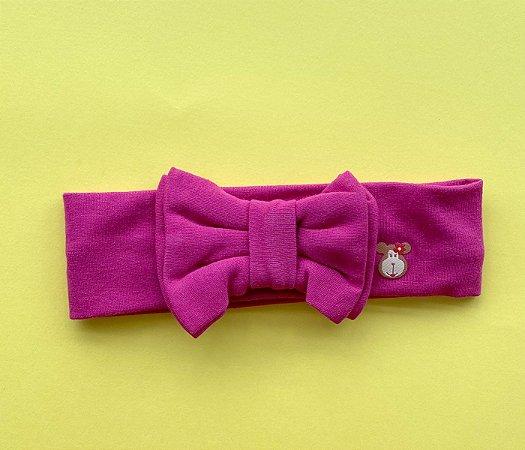 Tiara com laço duplo básica Rosa Escuro