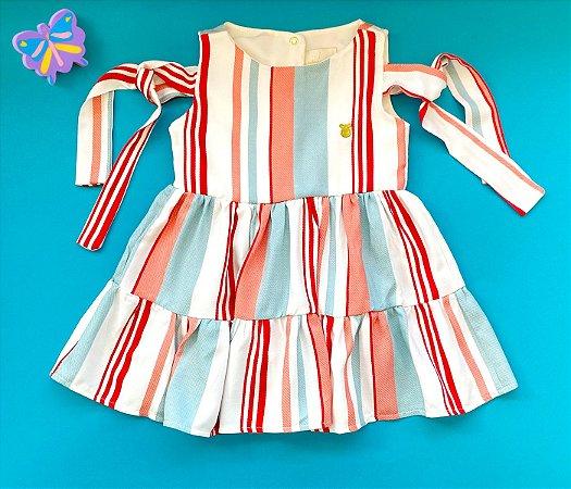 Vestido Infantil Listras Brancas