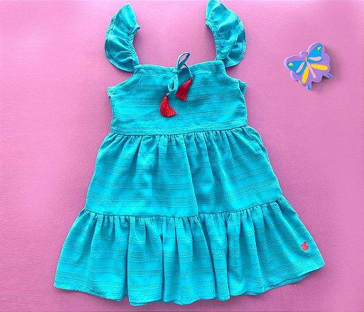 Vestido Infantil Viscose Azul