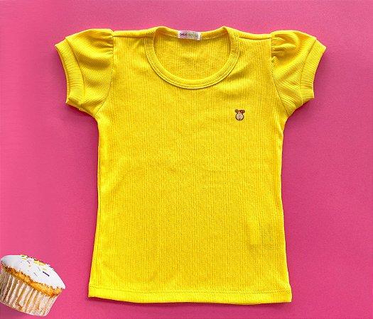 Blusa Infantil Malha Canelada cor amarela