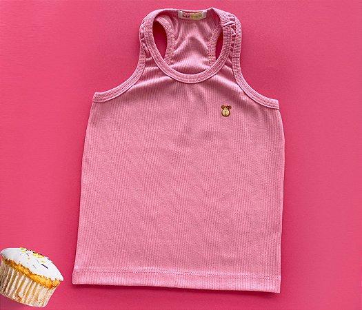 Camiseta Infantil Malha Canelada Cor Rosa
