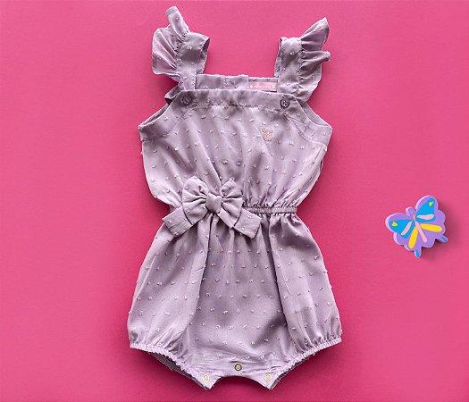 Body Bebê  de Tecido Lilás com Laço