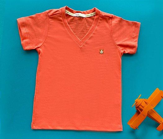 Camisa Infantil Gola V Malha Flamê Cor Laranja