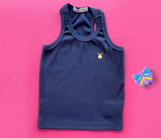 Camiseta Infantil Malha Canelada Cor Azul