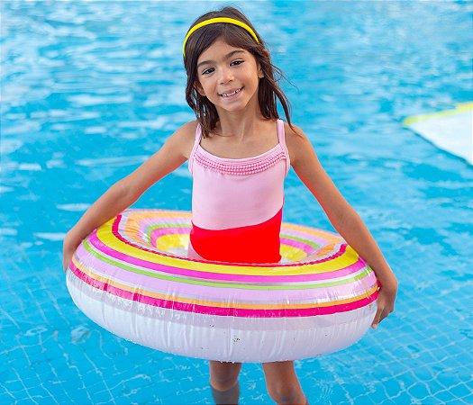Maiô  Malha Proteção Rosa Claro com Pink e pompons