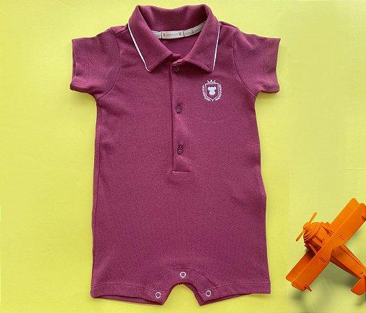 Francês Bebê Polo Malha Piquet Bordô