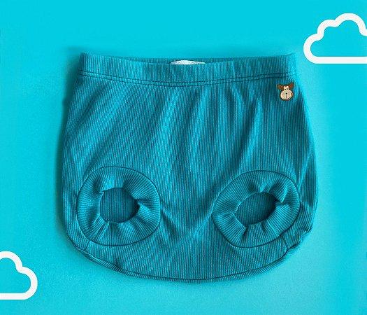Tapa Fraldas Bebê Básico Canelado Cor Azul