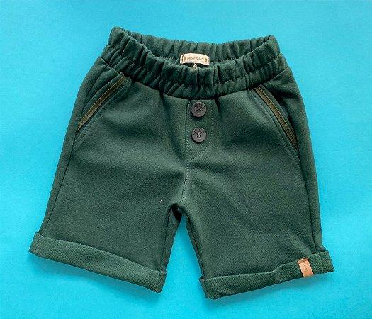 Bermuda de Moleton Infantil Cor Verde