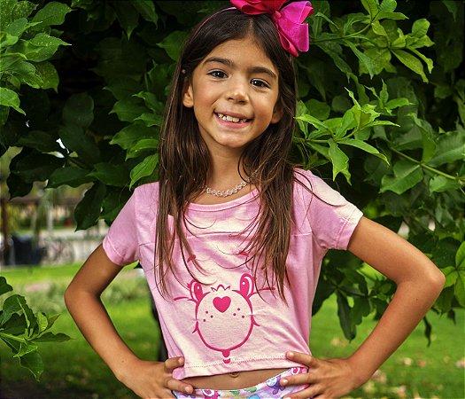 Blusa Tshirt Cropped Rosa Ursinhos Carinhosos