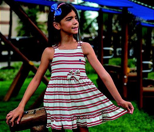 Vestido infantil Canelado Listras Vermelhas