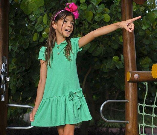 Vestido Polo Malha Canelada Cor  Verde