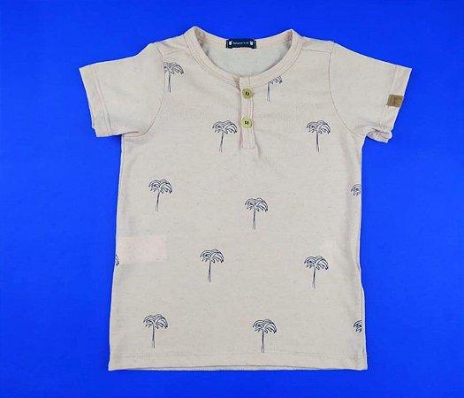 Camisa Gola V com Detalhe de Botão Cor Rosa Claro