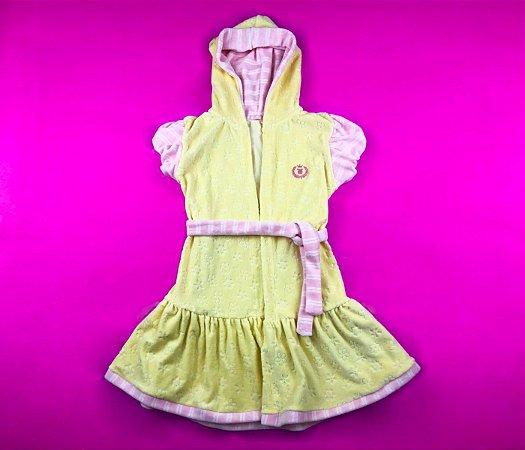 Roupão Infantil Tecido Atoalhado Cor Amarelo Com Detalhe Rosa
