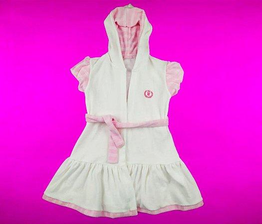 Roupão Infantil Tecido Atoalhado Cor Off White Com Detalhe Rosa