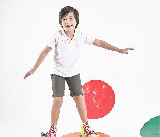 Gola Polo infantil Cor Branco Com Brasão Leleko