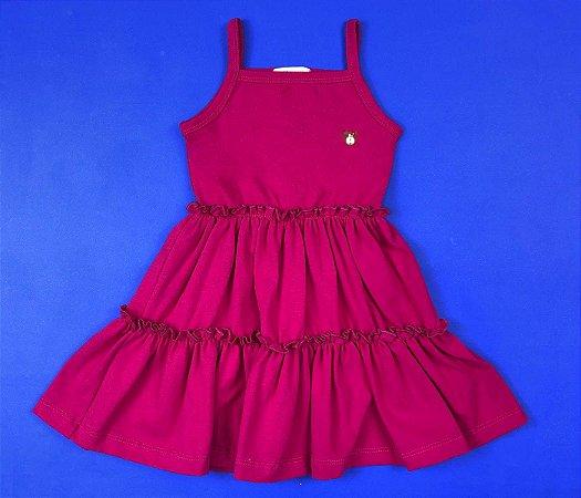 Vestido Cotton Com Babado na Saia Cor Rosa Pink