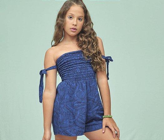 Macaquinho Teens Casual Estampado Folhagem azul com preto