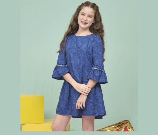 Vestido Teens Casual estampado azul manga 3/4