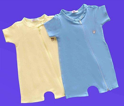 Combo 2 Francês Bebê com Zíper Cotton Azul e Amarelo