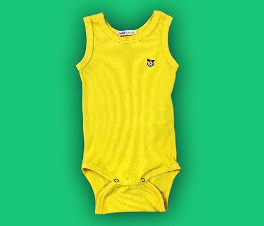 Body Bebê Básico Canelado Cor Amarelo