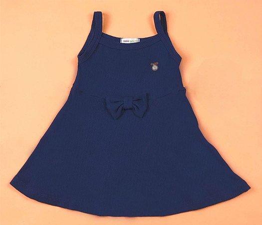 Vestido Canelado Color Cor  Azul Marinho