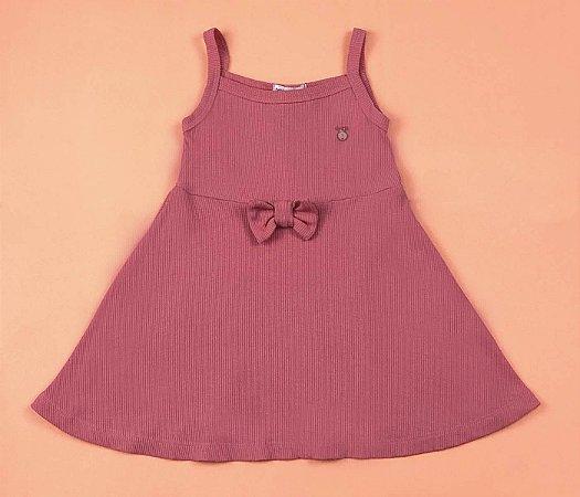 Vestido Canelado Color Cor Rosa