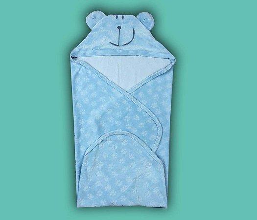 Toalha Infantil com Capuz Cor Azul