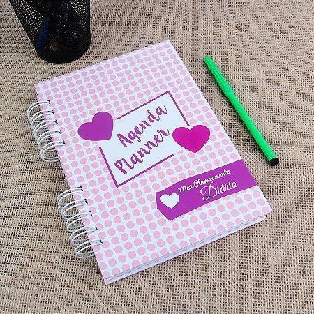 Agenda Planner Personalizada Corações | Personalize a Capa e Mês de Início |Ver Descrição | M37